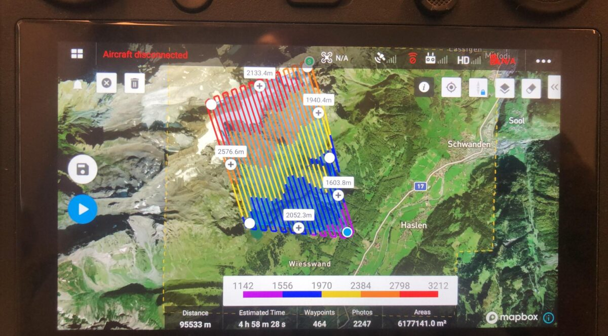 Terrain-Follow Mode mit Swisstopo Geodaten